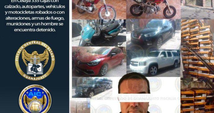 Aseguran mercancía, armas y vehículos robados