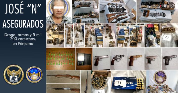 Aseguran miles de cartuchos, droga y armas en Pénjamo